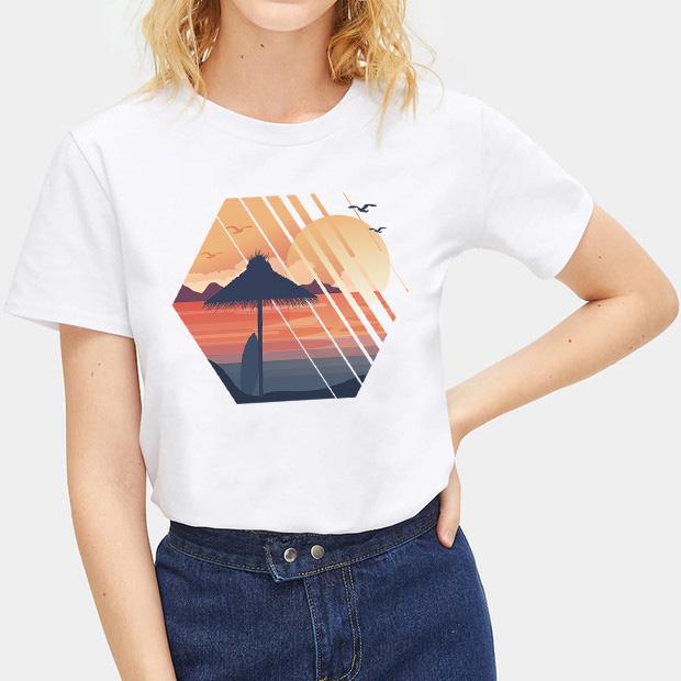 Women Fashion Landscape T-Shirt Shirts Tops Blouse Casual Tee Short Sleeve Size