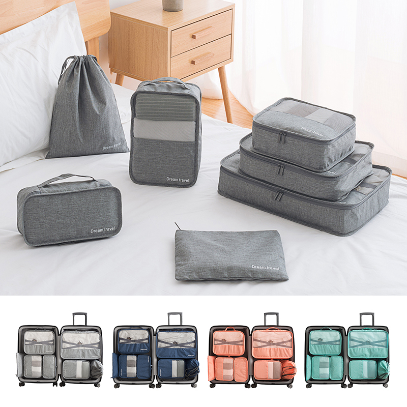 3a9f22588853 Details about 6/7PCS Packing Cube Pouch Suitcase Clothes Storage Bags  Travel Luggage Organizer