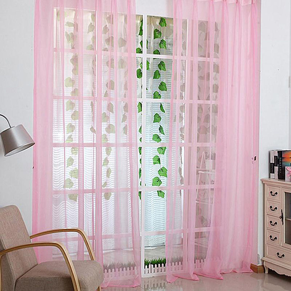 Voile-Curtains-Pair-2-Panels-Valances-Tulle-Window-Door-Sheer-Scarf-Divider thumbnail 4