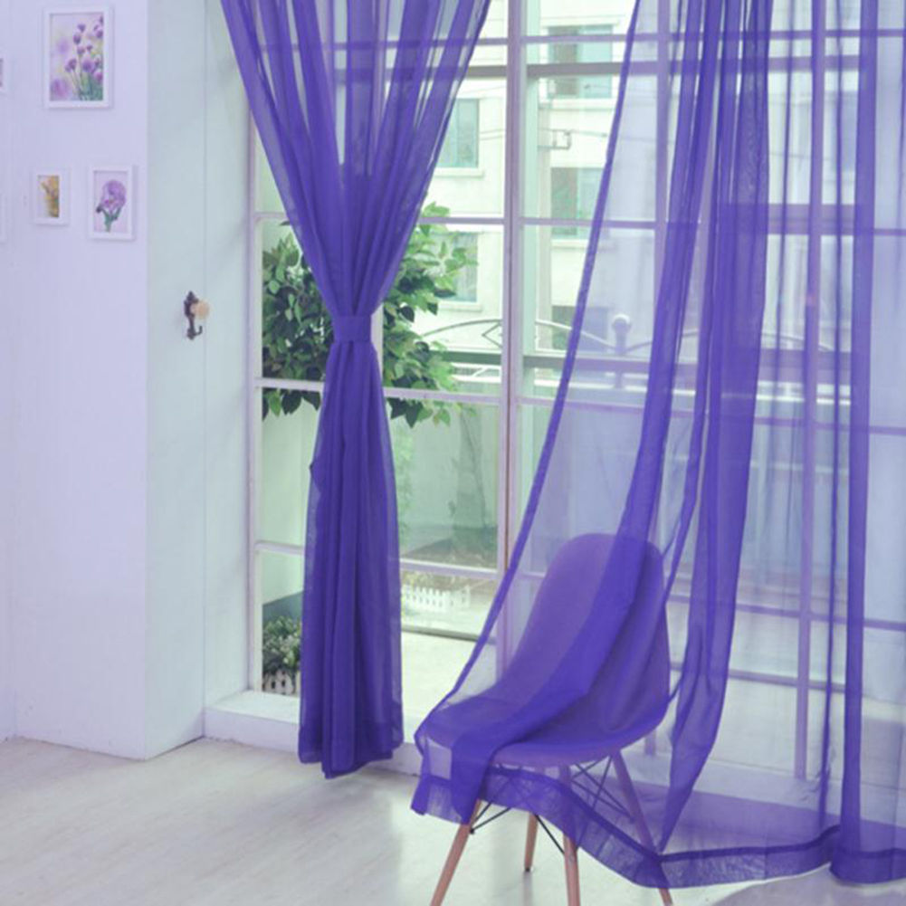 Voile-Curtains-Pair-2-Panels-Valances-Tulle-Window-Door-Sheer-Scarf-Divider thumbnail 12