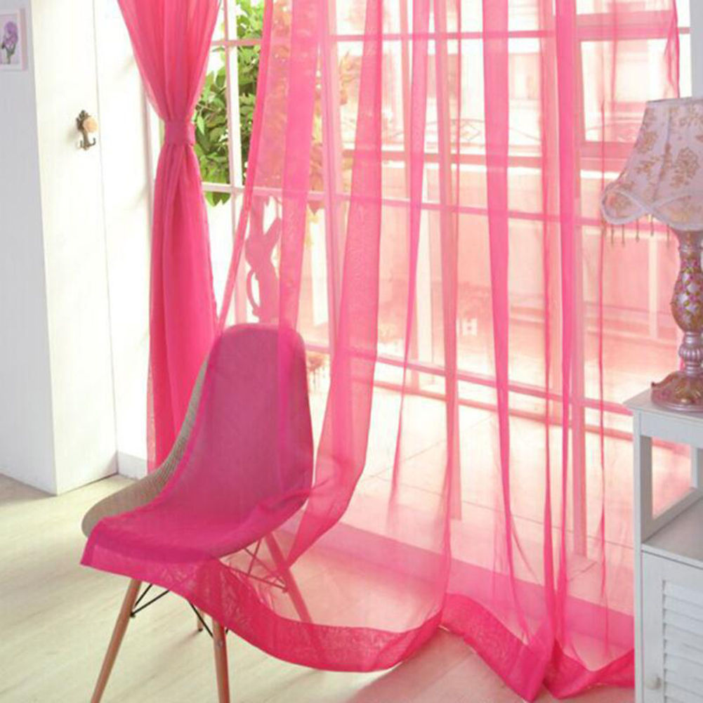 Voile-Curtains-Pair-2-Panels-Valances-Tulle-Window-Door-Sheer-Scarf-Divider thumbnail 14