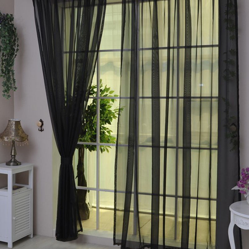 Voile-Curtains-Pair-2-Panels-Valances-Tulle-Window-Door-Sheer-Scarf-Divider thumbnail 23