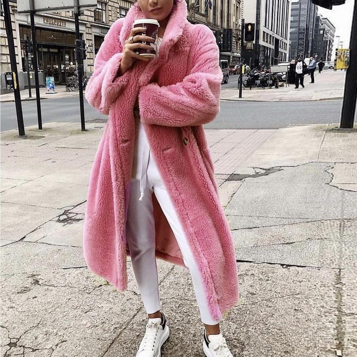 Gigi Hadid Oversized Teddy Bear Icon Faux Fur Chapal Winter Coat Jacket Long