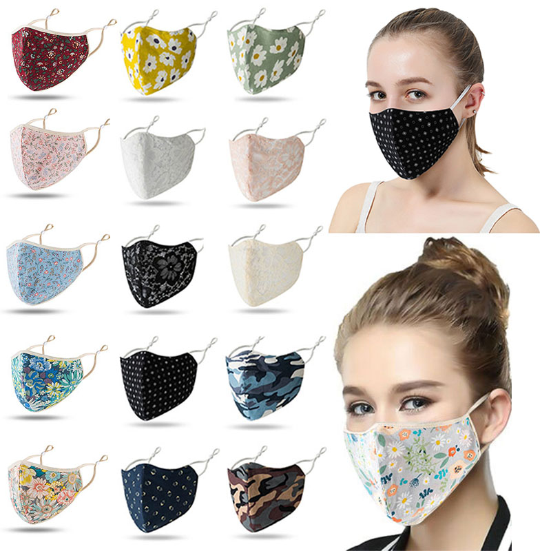 Fashion Floral Face Mask Adjustable Mouth Mask Double Layered Washable Reusable Ebay