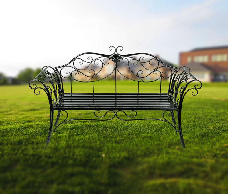 Metal Garden Seat Bench Patio Park Chair Vintage Park