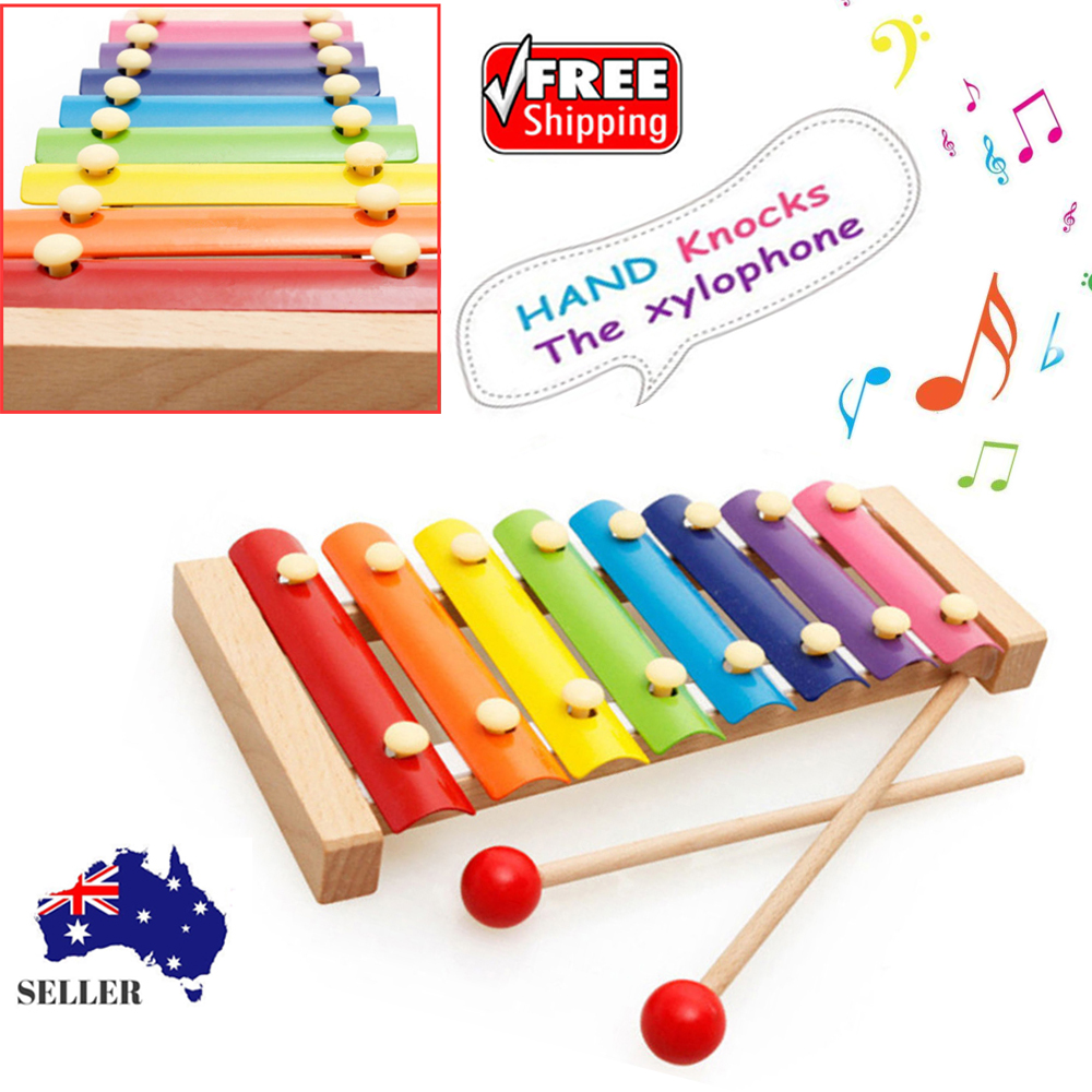 Classic Wooden Xylophone Toy Musical Instrument 8 Tone Baby Kids
