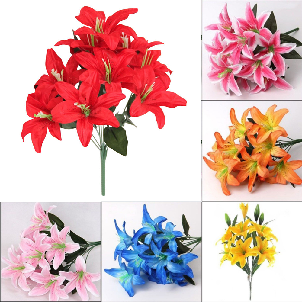 10 Head Artificial Fake Lily Silk Flowers Bouquet Home Wedding Party Deco Gift