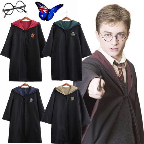 Cosplay Harry Potter Adult Kids Child Robe Costume Gryffindor  Cloak Fancy Dress