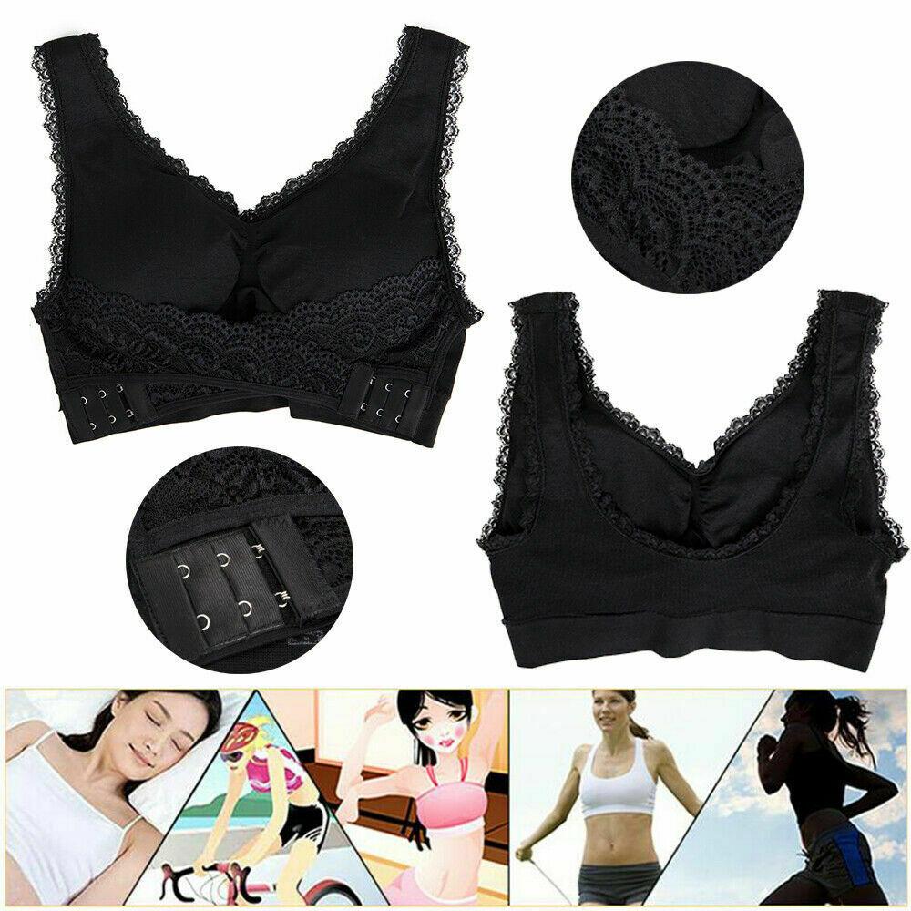 AU-Womens-Adjustable-Front-Cross-Lace-Yoga-Bra-Buckle-Side-Wireless-Crop-Top-Bra thumbnail 14