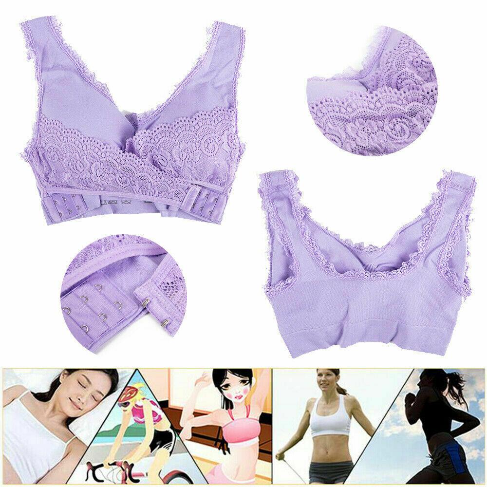 AU-Womens-Adjustable-Front-Cross-Lace-Yoga-Bra-Buckle-Side-Wireless-Crop-Top-Bra thumbnail 17