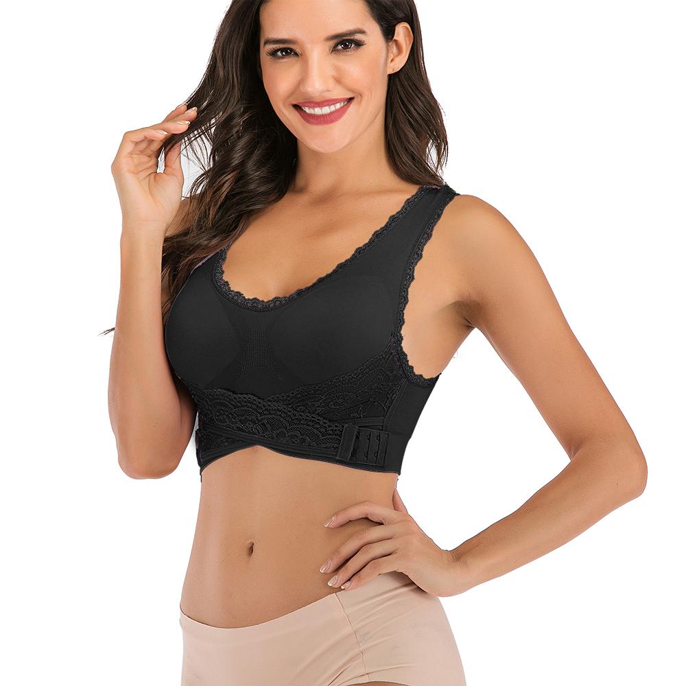 AU-Womens-Adjustable-Front-Cross-Lace-Yoga-Bra-Buckle-Side-Wireless-Crop-Top-Bra thumbnail 60
