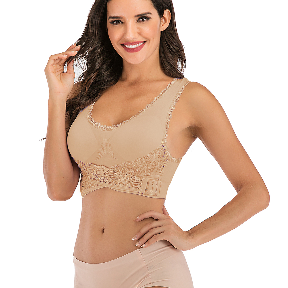 AU-Womens-Adjustable-Front-Cross-Lace-Yoga-Bra-Buckle-Side-Wireless-Crop-Top-Bra thumbnail 62