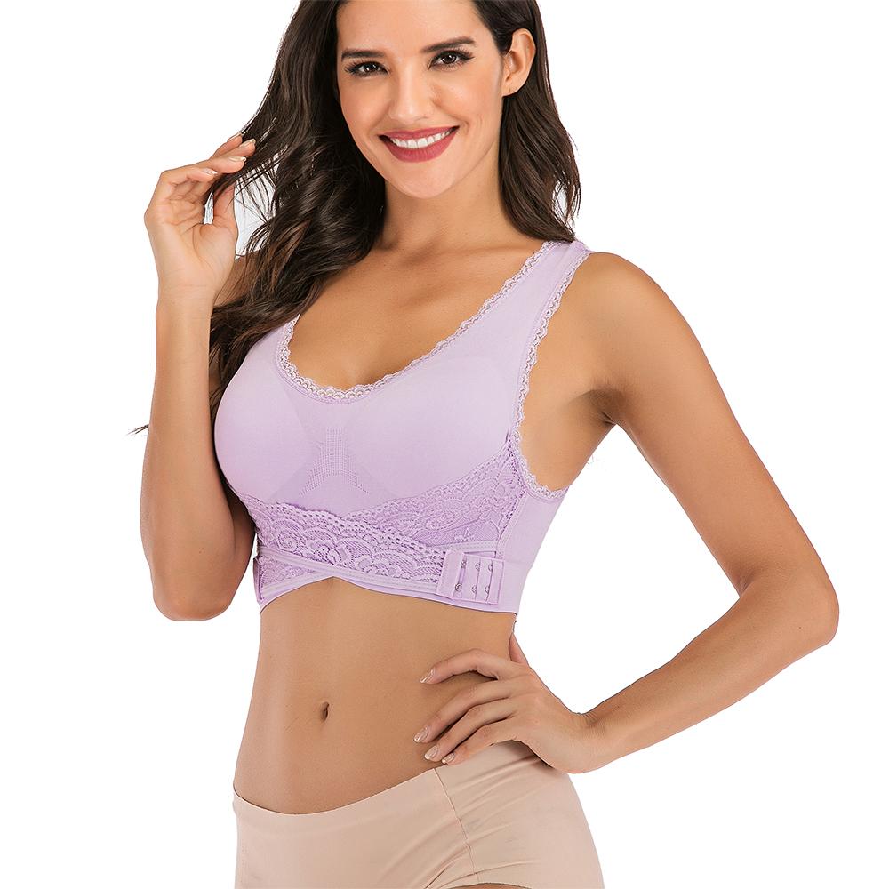 AU-Womens-Adjustable-Front-Cross-Lace-Yoga-Bra-Buckle-Side-Wireless-Crop-Top-Bra thumbnail 64