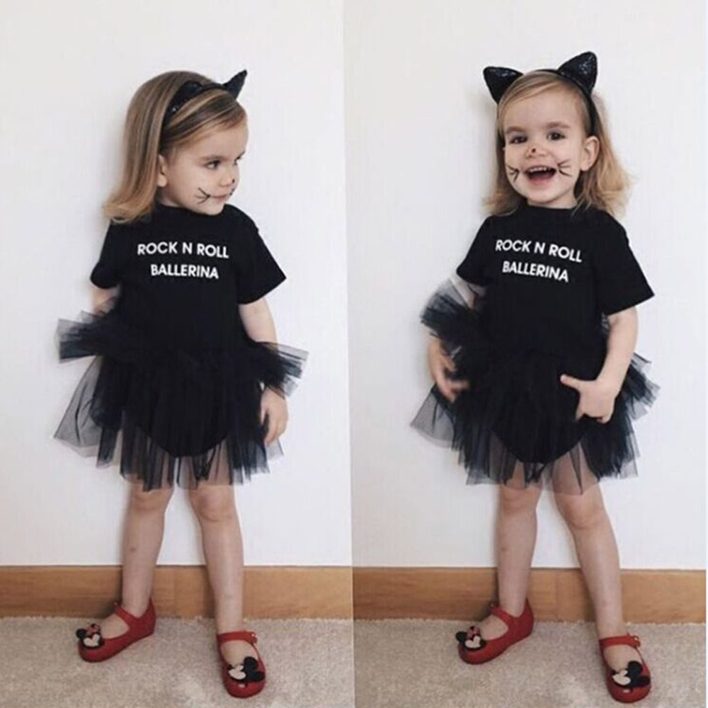 f937e0cc889 Kids Cute Baby Girl Short Sleeve Tulle Tutu Skirts Dress Black Party Outfit  0-3Y