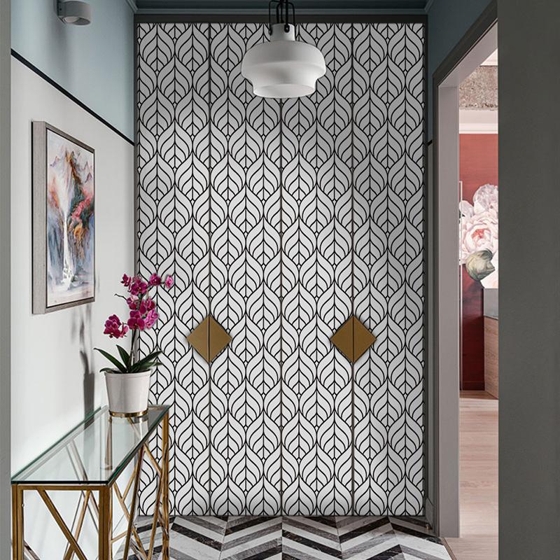 2.5M Geometric Gold Wallpaper Self-Adhesive Wall Tile ...