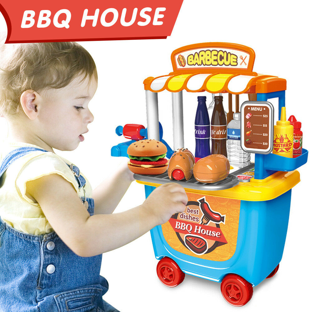Kids Toy BBQ Shop Cart Carry Case Pretend Role Play Barbecue