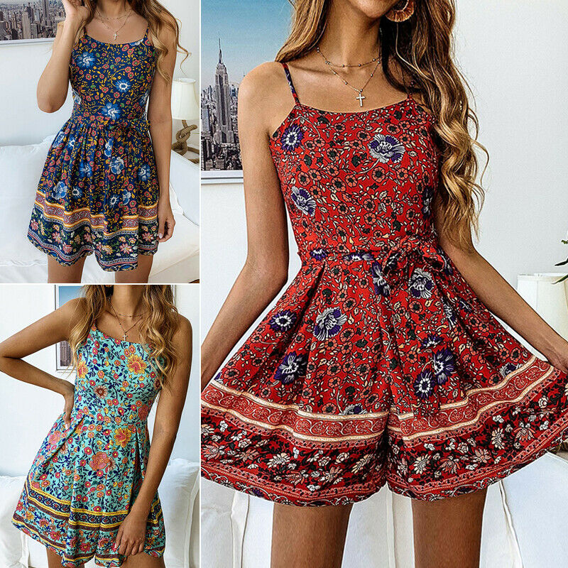 Womens Boho Playsuit Romper Ladies Summer Beach Floral Jumpsuit Shorts Holiday