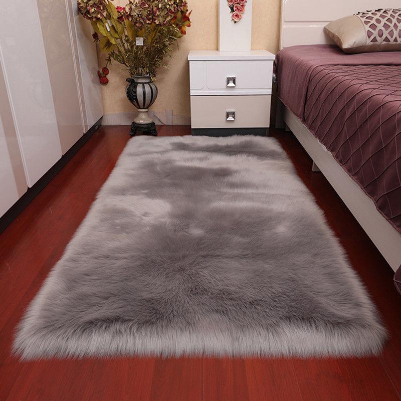Large Shaggy Fluffy Rug Faux Fur Fake Wool Carpet Floor Mat Cushion Warm Soft Ebay