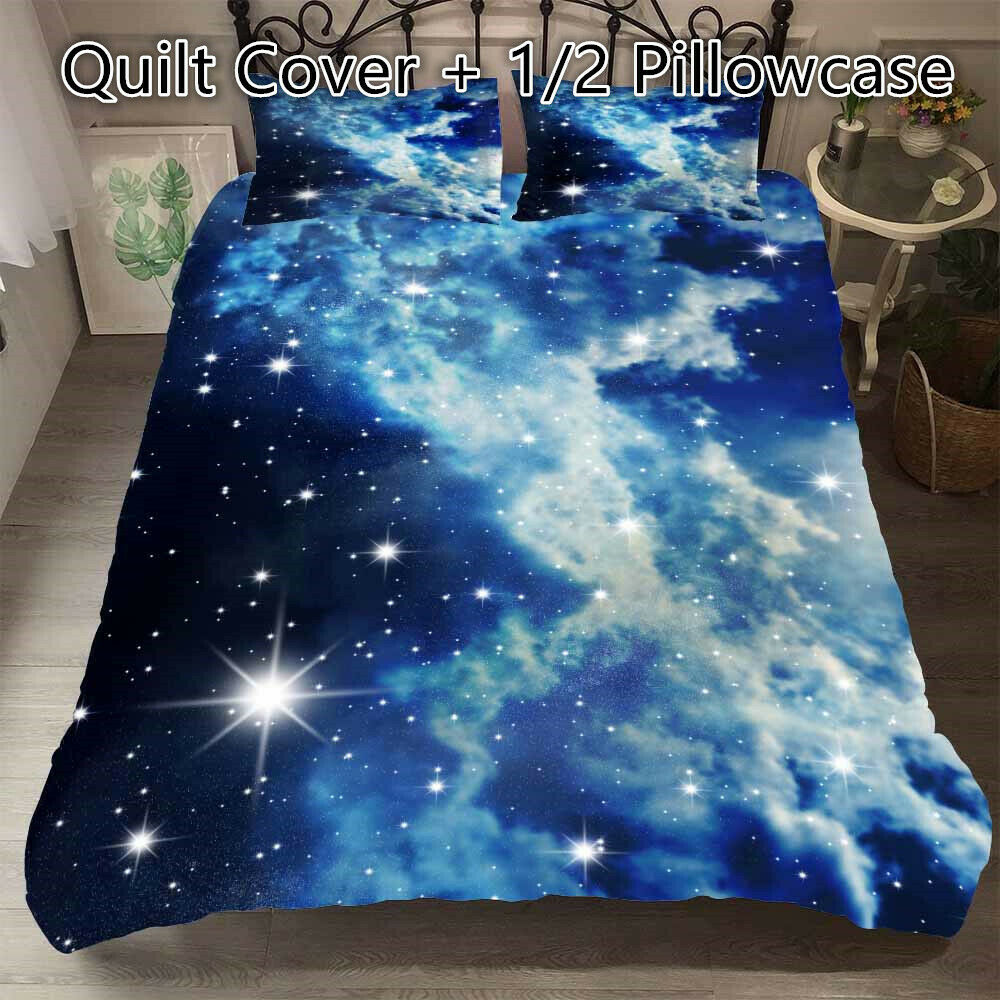 Galaxy Star Quilt Doona Duvet Cover Set Single Double Queen King All Sizes Bed Ebay