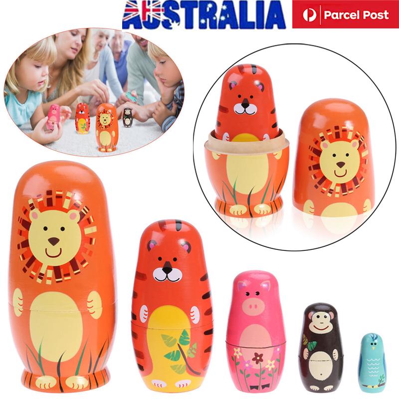 5pcs Russian Matryoshka Handmade Nesting Dolls Babushka Animall Kids Toys Gift