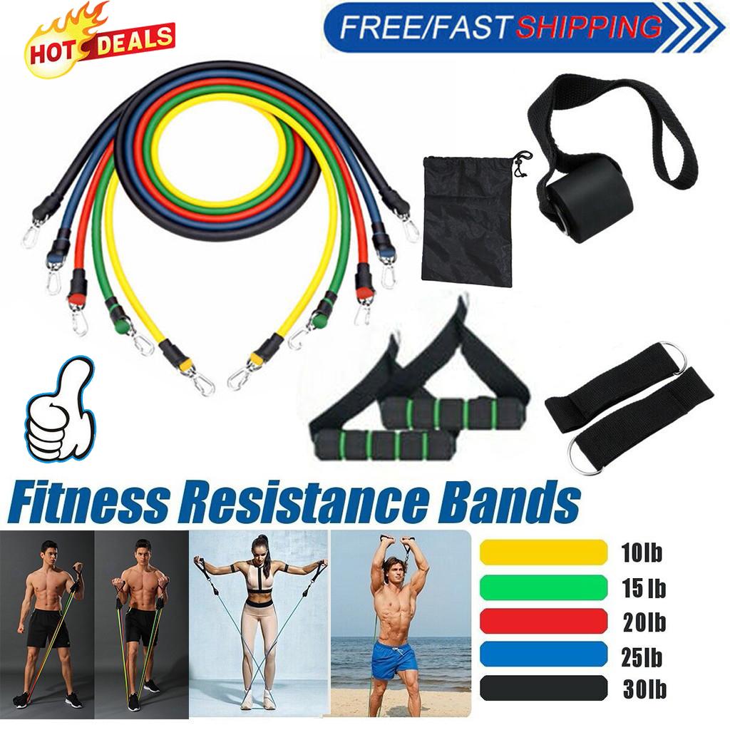 11Pcs Set Resistance Bands 10-30LB Workout Exercise Yoga Crossfit Fitness Tubes