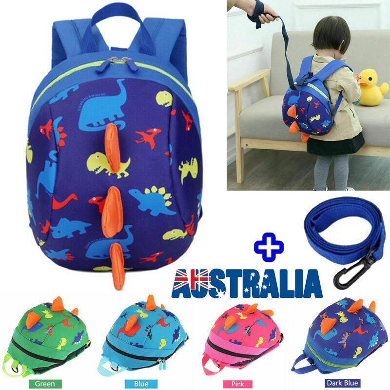 Cute Dinosaur Animals Kids Backpack Anti Lost Bag green
