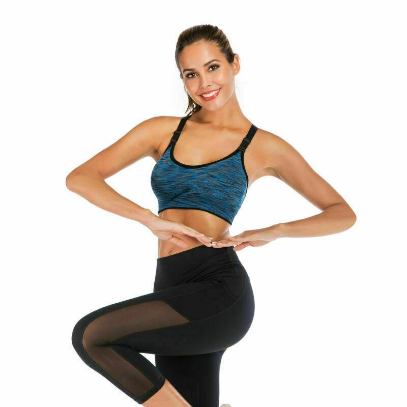 LB Hot Womens Anti-sagging Sports Bra Shock Absorber Racerback Fitness Yoga Vest