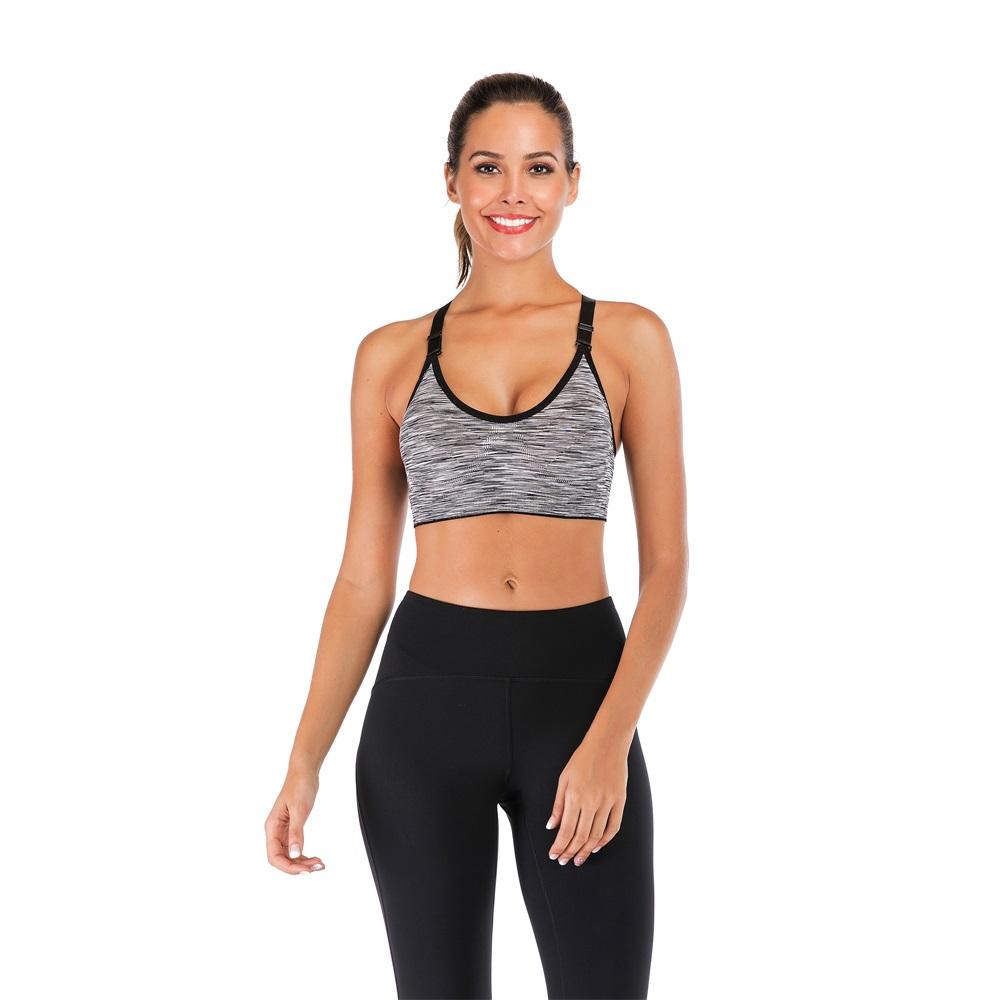 LB Ladies Seamless Yoga Bra Padded Sport Fitness Racerback Workout Crop Tank Top
