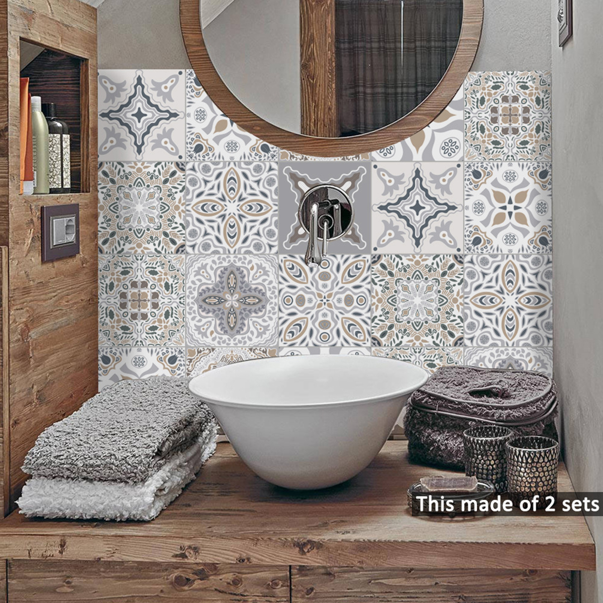 10Pcs Moroccan Self-adhesive Tile Wall Floor Sticker ...