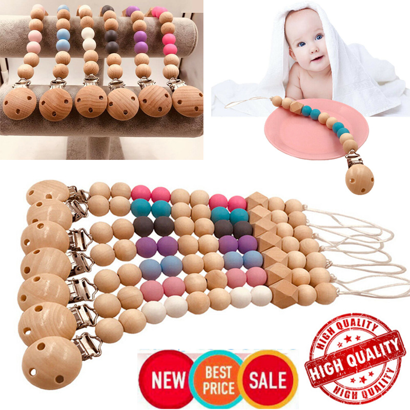 1PC Baby Pacifier Clip Wooden Chain Soother Nipple Holder Infant Feeding Toy