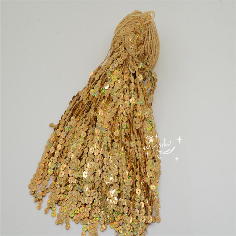 6-5-Yards-Sequins-Tassel-Fringe-Trim-Gold-Silver-Latin-Samba-Dress-Sew-on-Supply thumbnail 18