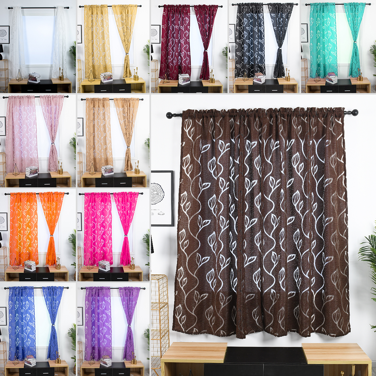 Flower Printed Sheer Hollowed Curtains Shading Window Drape For Bedroom 1 Piece Ebay