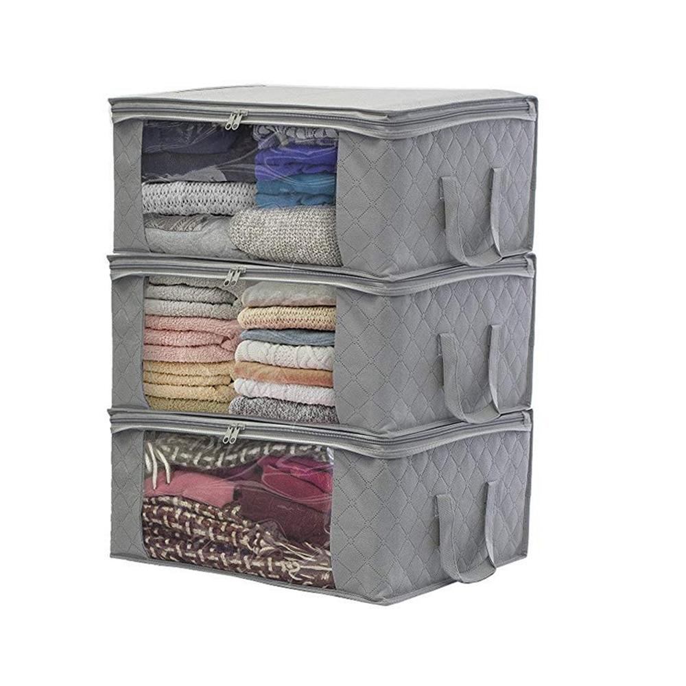 Clothes-Quilt-Blanket-Bamboo-Storage-Bag-Charcoal-Organizer-Foldable-Zipper-Box thumbnail 28