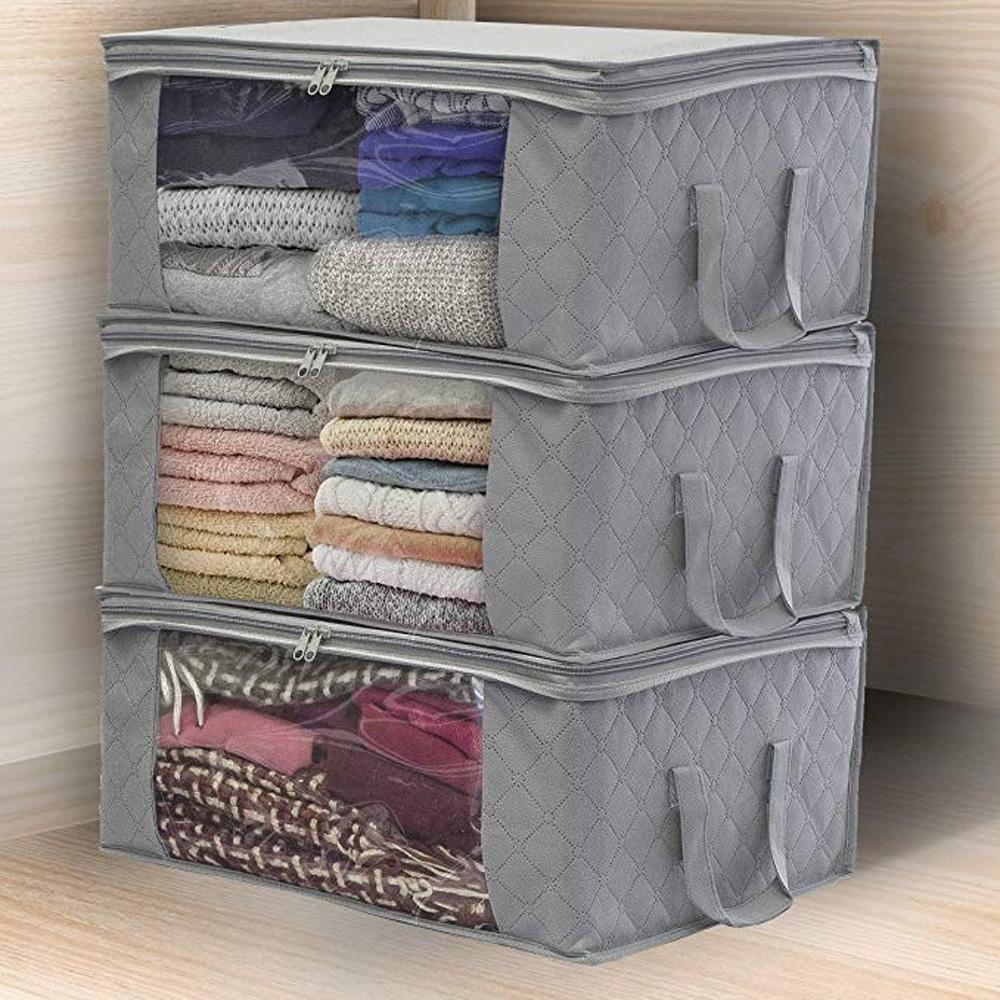 Clothes-Quilt-Blanket-Bamboo-Storage-Bag-Charcoal-Organizer-Foldable-Zipper-Box thumbnail 29