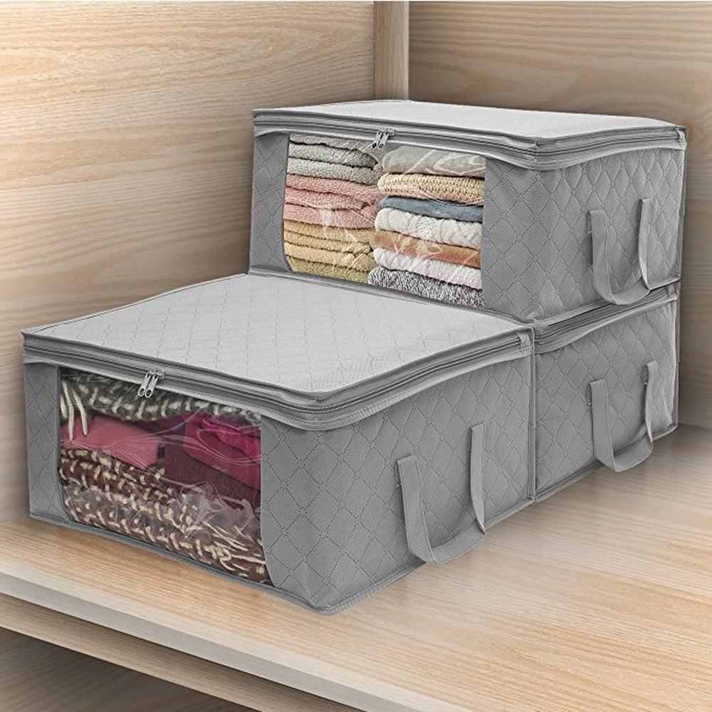 Clothes-Quilt-Blanket-Bamboo-Storage-Bag-Charcoal-Organizer-Foldable-Zipper-Box thumbnail 30