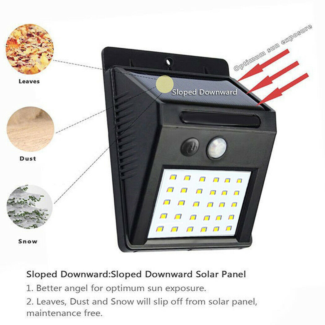 Solar Powered Garden Light 8//20//25//30 LED Shed Sensor Motion PIR Wall Outdoor