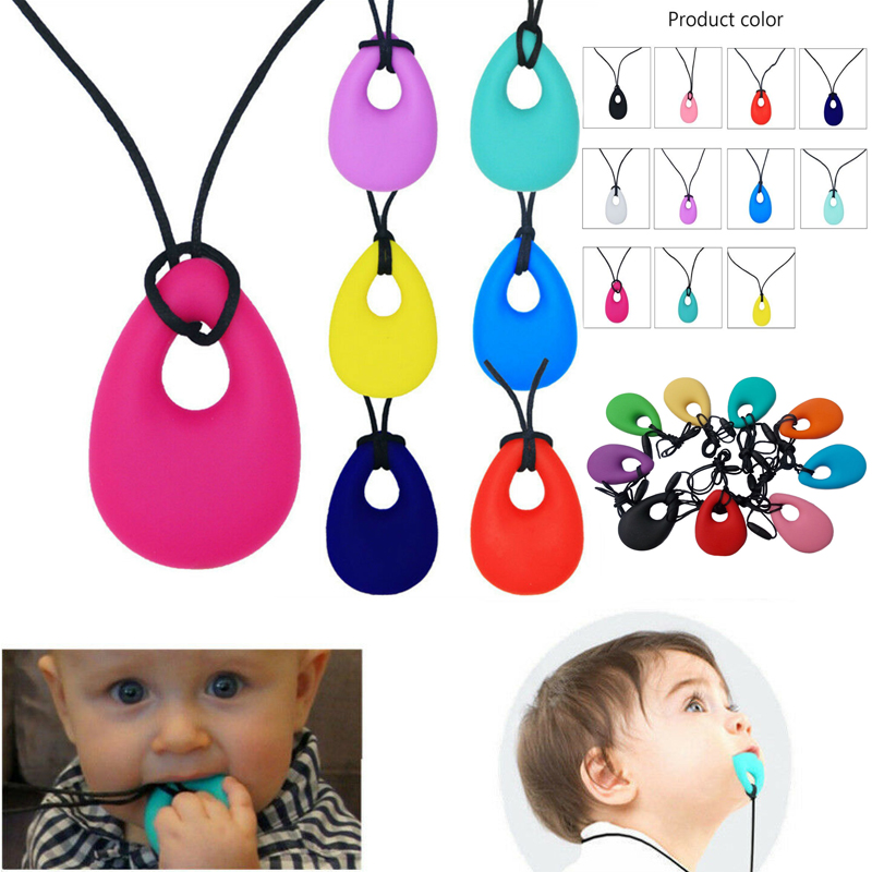 Teething Necklace Kid Baby Teether Autism Nursing Chew Silicone Pendant Toy Real
